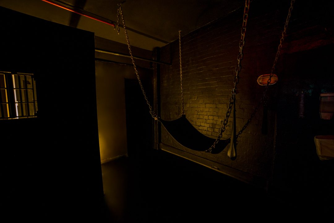 This is our dark maze. Venture into the dark where anything could happen! Find your way around and discover who may be waiting for you in a corner, in the sling or cage.