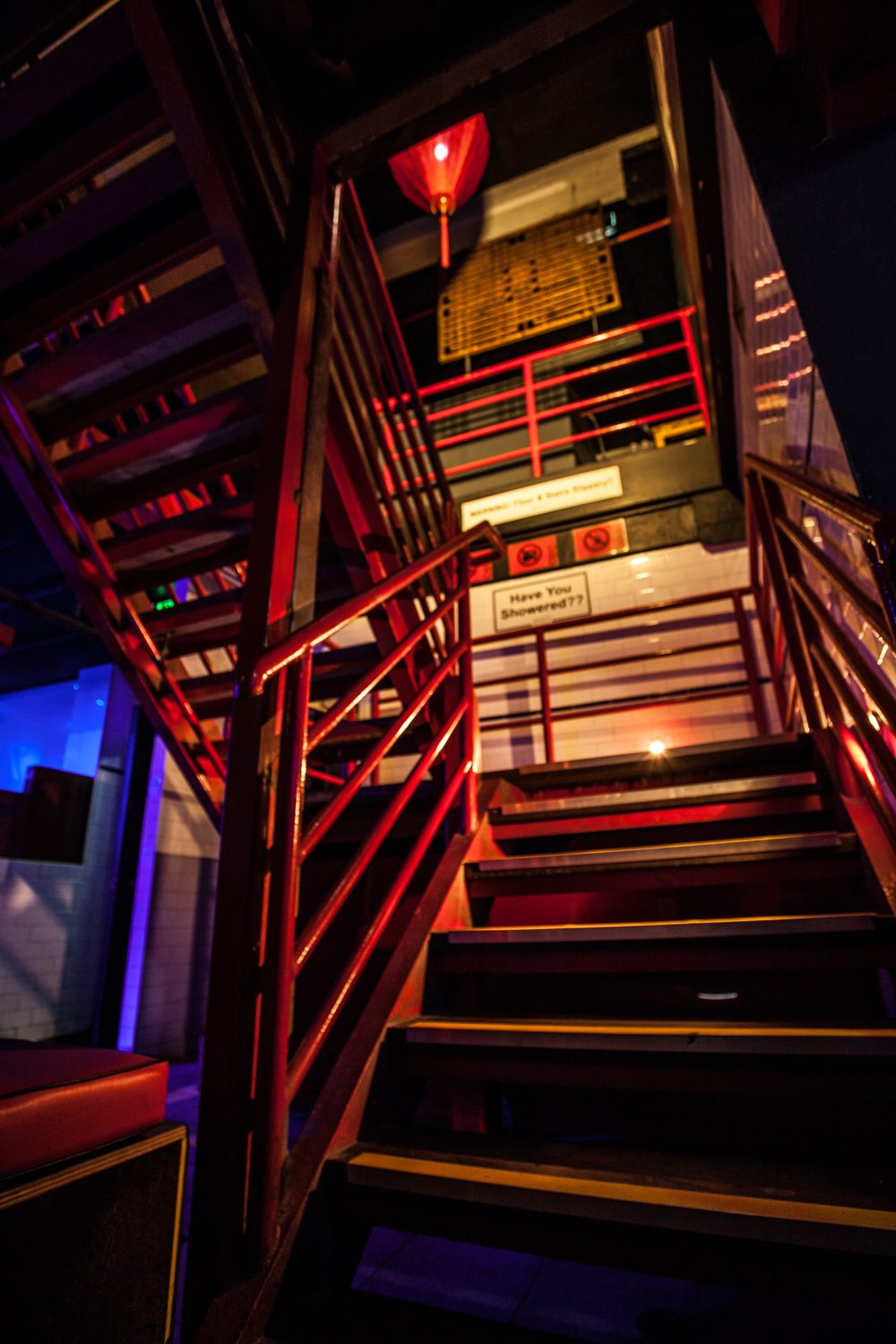 Our spiral stairs up to level 2. Hint: stand at the top and watch who enters and walks up the stairs. Very handy to know who's arriving ;)