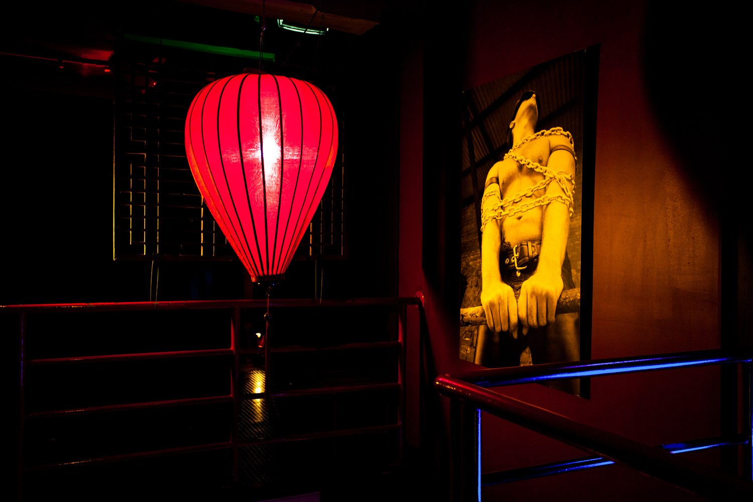 Our mood lanterns at the top of the stairs leading to level 2