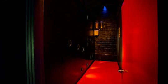 These 3 rooms are at knee height, so you climb into them. With glory holds at multiple heights, you can lie down, kneel or stand up and let the fun happen from the other side of the wall. Very sexy!