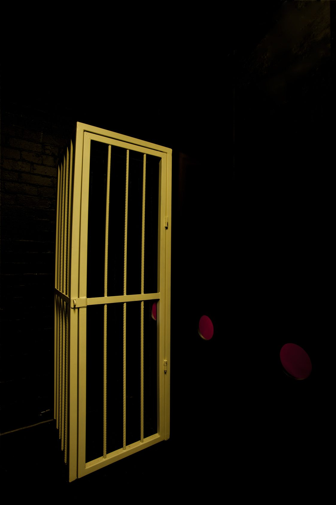 Cage next to the dark room.
